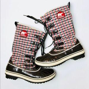Sorel Tivoli Tall Plaid Snow Winter Boots Sz 9